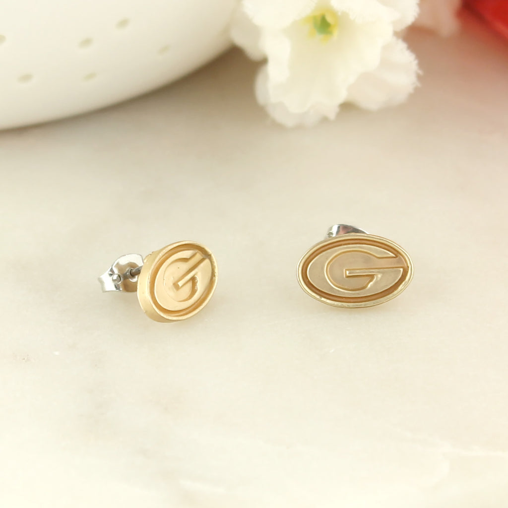 Georgia Matte Gold Logo Stud Earrings