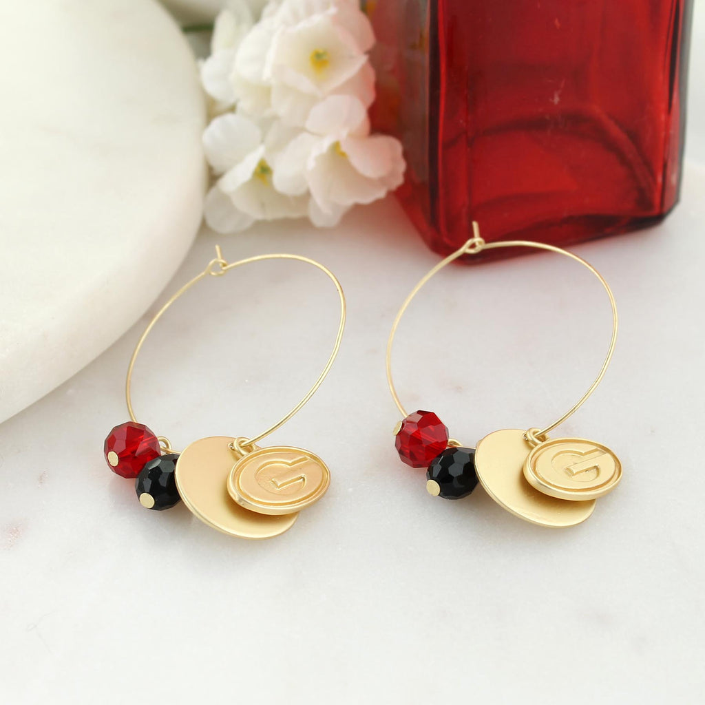 Georgia Matte Gold Logo Hoop Earrings