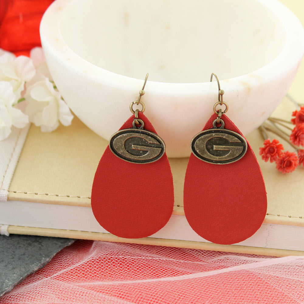 Georgia Vintage Style Logo Leather Teardrop Earrings