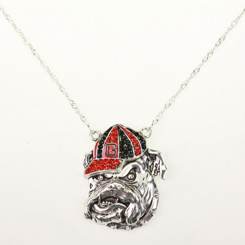 Georgia Bulldogs Crystal Logo Necklace