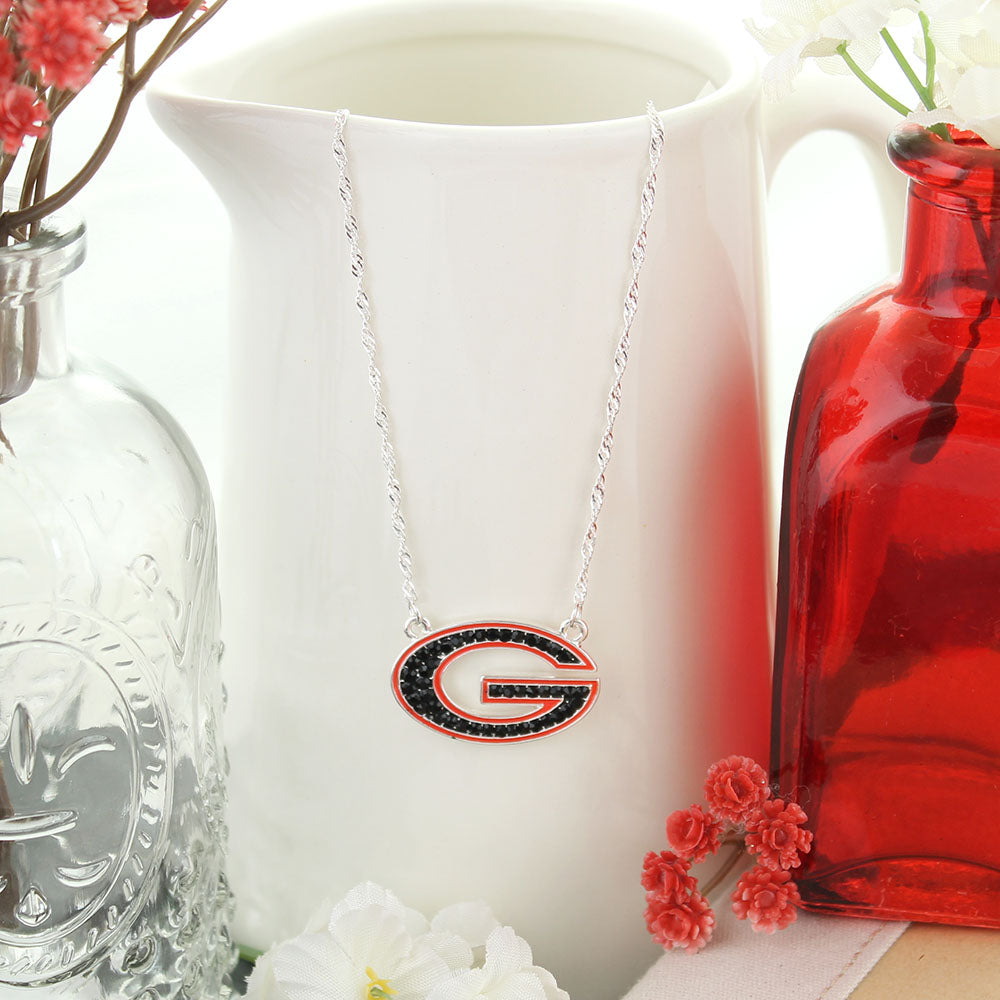 Georgia Crystal Logo Necklace