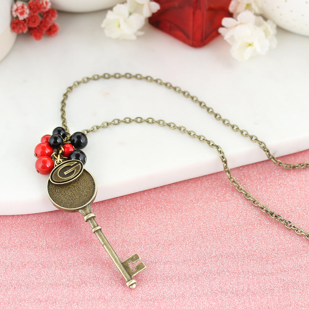 "36"" Georgia Vintage Style Logo w/ Key and Pearl Cluster Necklace"