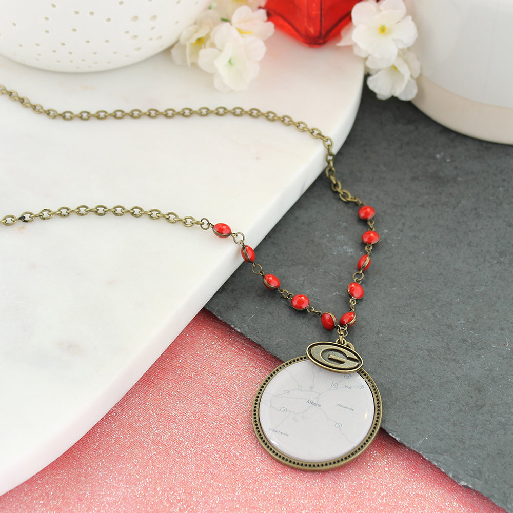 "34"" Georgia Vintage Style Logo and Map Necklace"