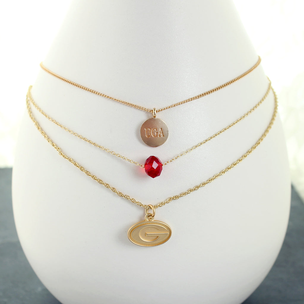 "16"" - 20"" Georgia Matte Gold Logo Trio Necklace"