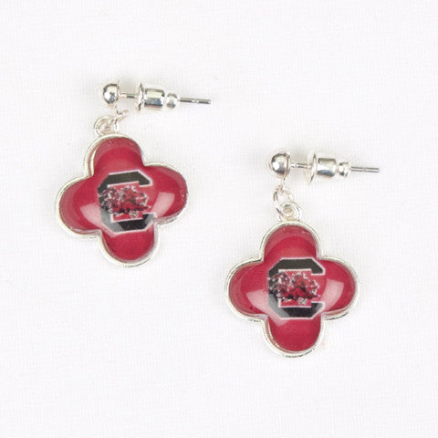 Seasons Jewelry Collegiate South Carolina Quatrefoil Earrings