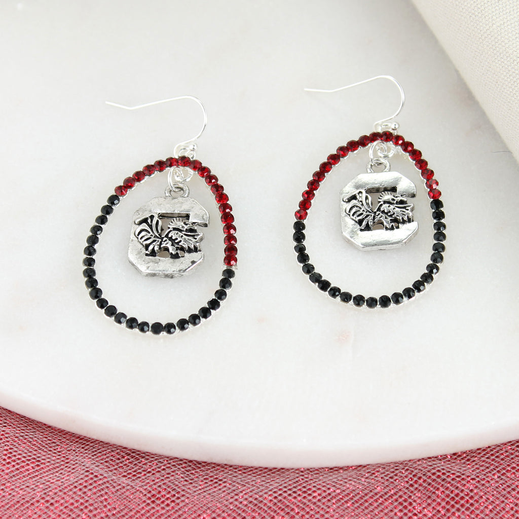 South Carolina Crystal Loop Earrings
