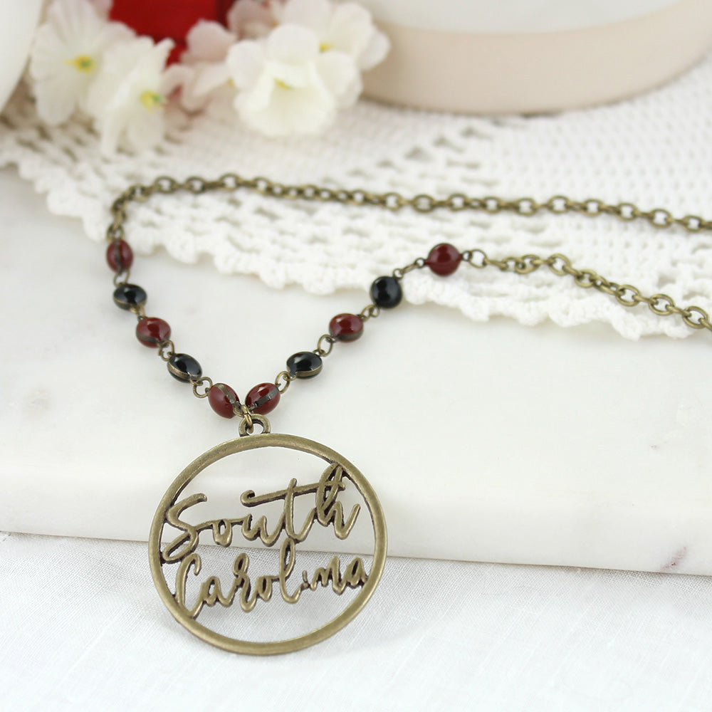 "34"" South Carolina Vintage Style Cutout Slogan Necklace"