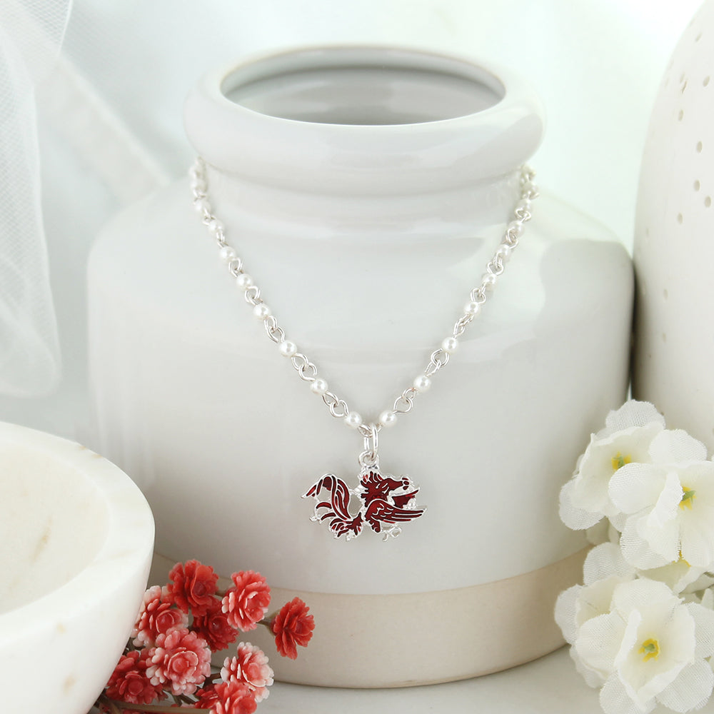 South Carolina Enamel Logo & Pearl Necklace
