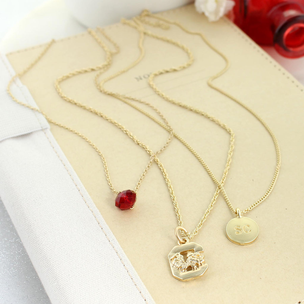 "16"" - 20"" South Carolina Matte Gold Logo Trio Necklace Set"