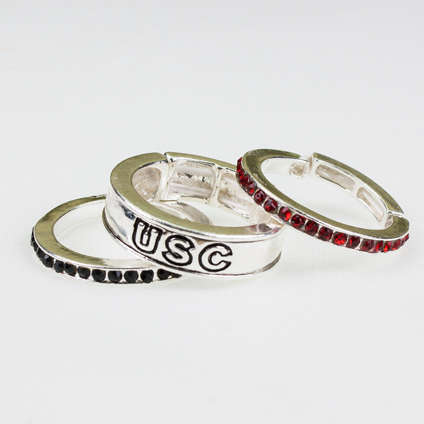 Seasons Jewelry South Carolina Stackable Stretch Ring Trio Set