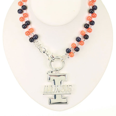 Seasons Jewelry Illinois Beaded Logo Necklace