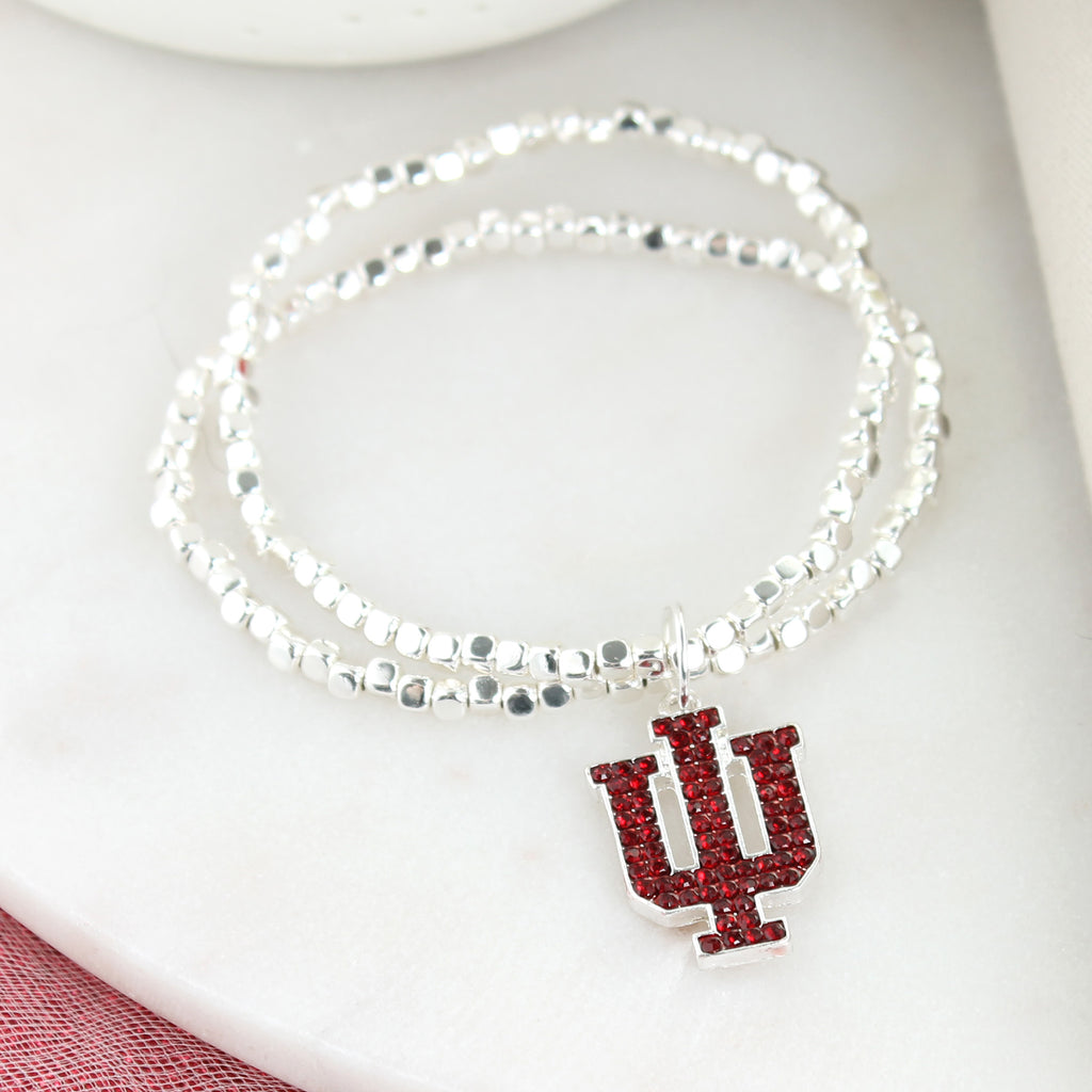 Indiana Crystal Logo Stretch Braceet