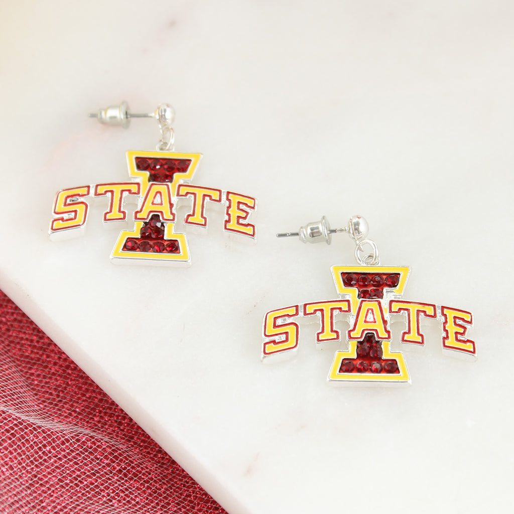 Iowa State Crystal Logo Earrings