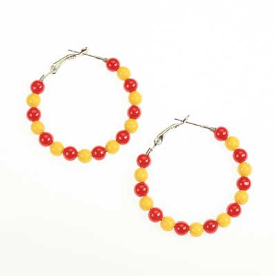 Seasons Jewelry Iowa State Beaded Hoop Earrings