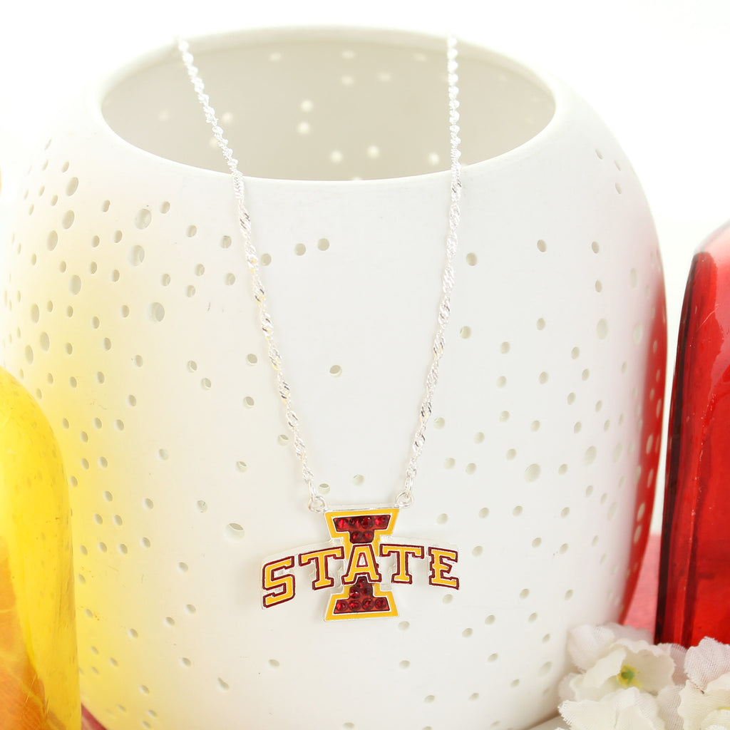 Iowa State Crystal Logo Necklace