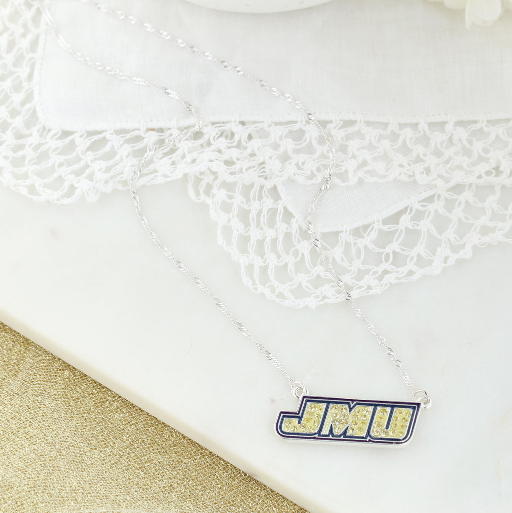 JMU Crystal Logo Necklace