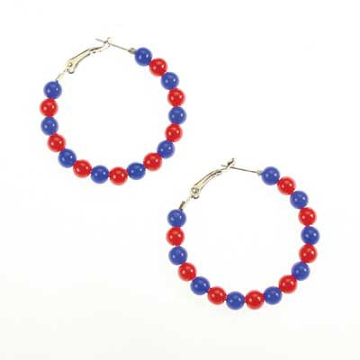 Seasons Jewelry Kansas Beaded Hoop Earrings