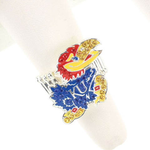 Seasons Jewelry Kansas Crystal Logo Stretch Ring