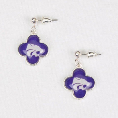 Seasons Jewelry Collegiate Kansas Quatrefoil Earrings