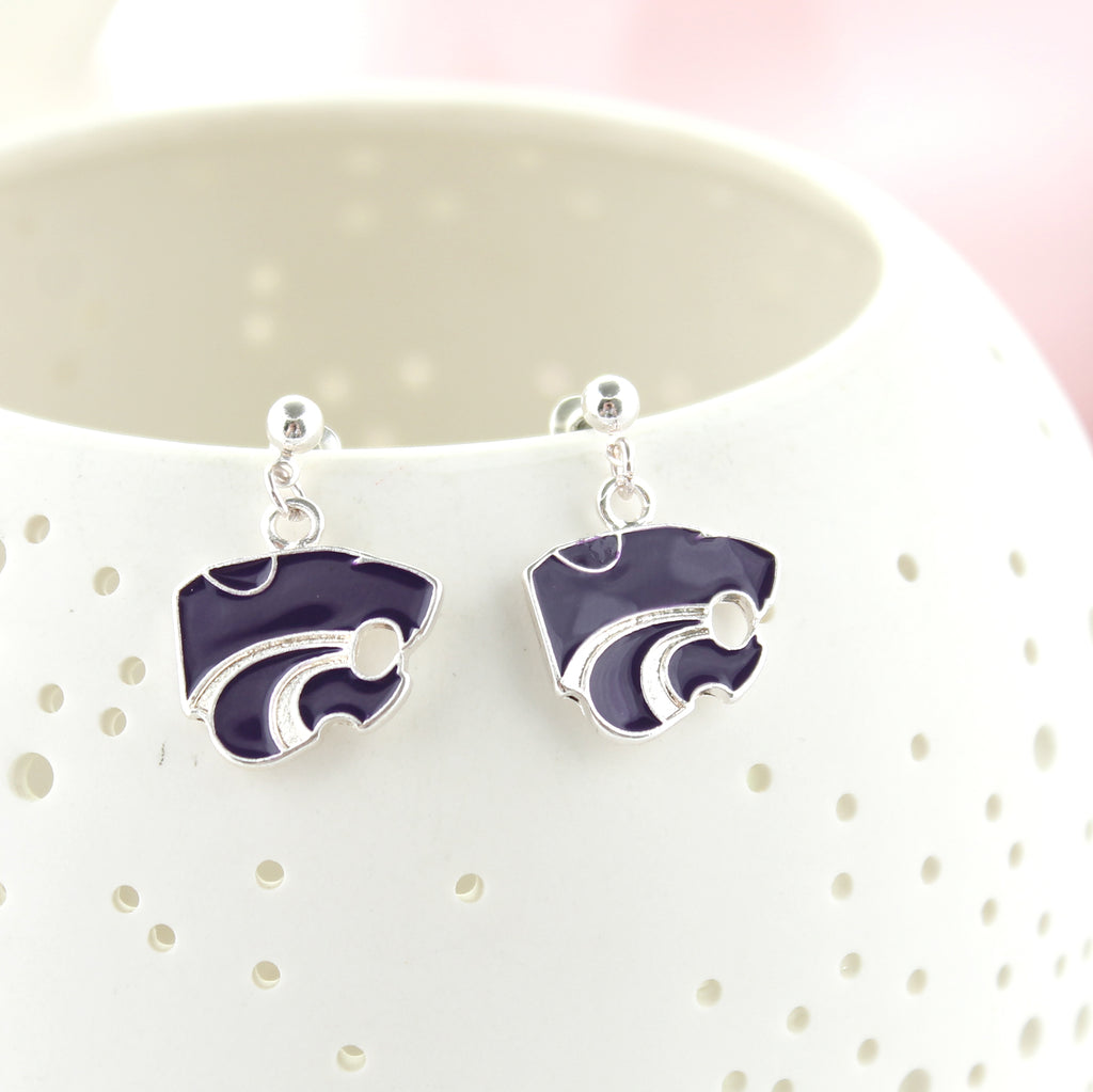 Kansas State Enamel Logo Earrings