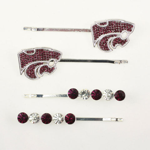 Seasons Jewelry Kansas State Crystal Logo Hair Pin Set