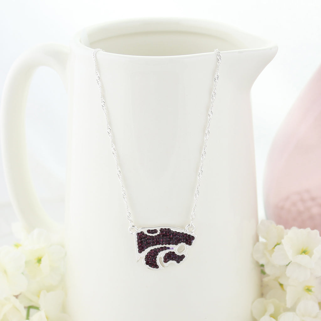 Kansas State Crystal Logo Necklace