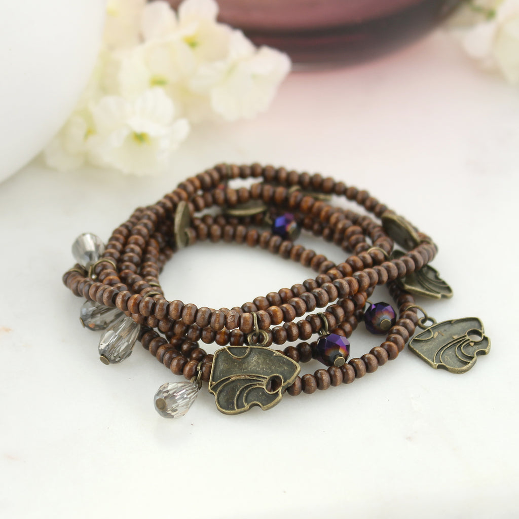 Kansas State Wood Bead Stretch Necklace/Bracelet