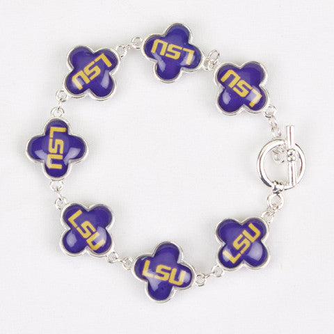 Seasons Jewelry Collegiate LSU Quatrefoil Bracelet