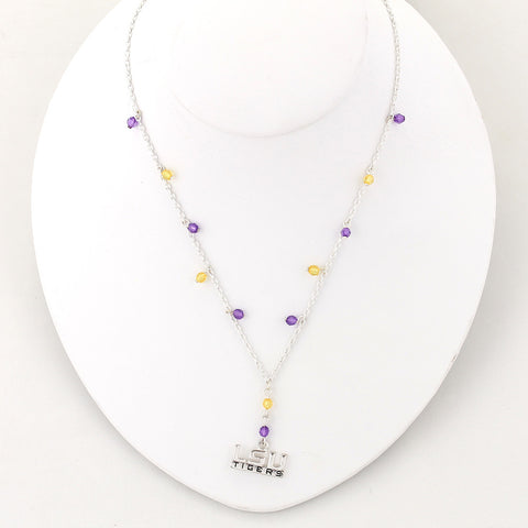 LSU Silver Logo Beaded Chain Necklace