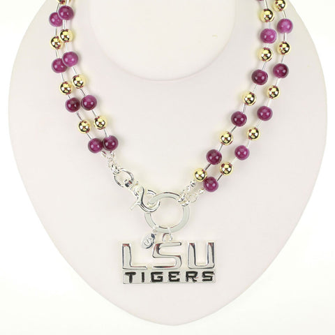 Seasons Jewelry LSU Beaded Logo Necklace