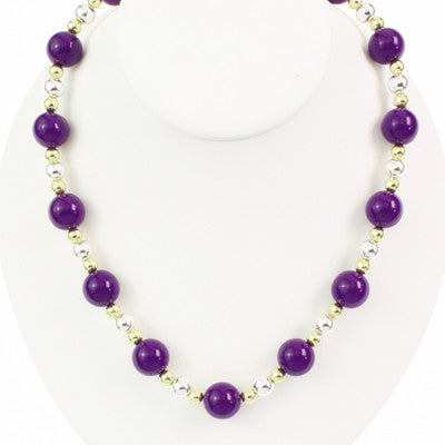 Seasons Jewelry LSU Beaded Stretch Necklace