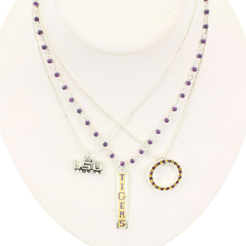 Seasons Jewelry LSU Trio Necklace
