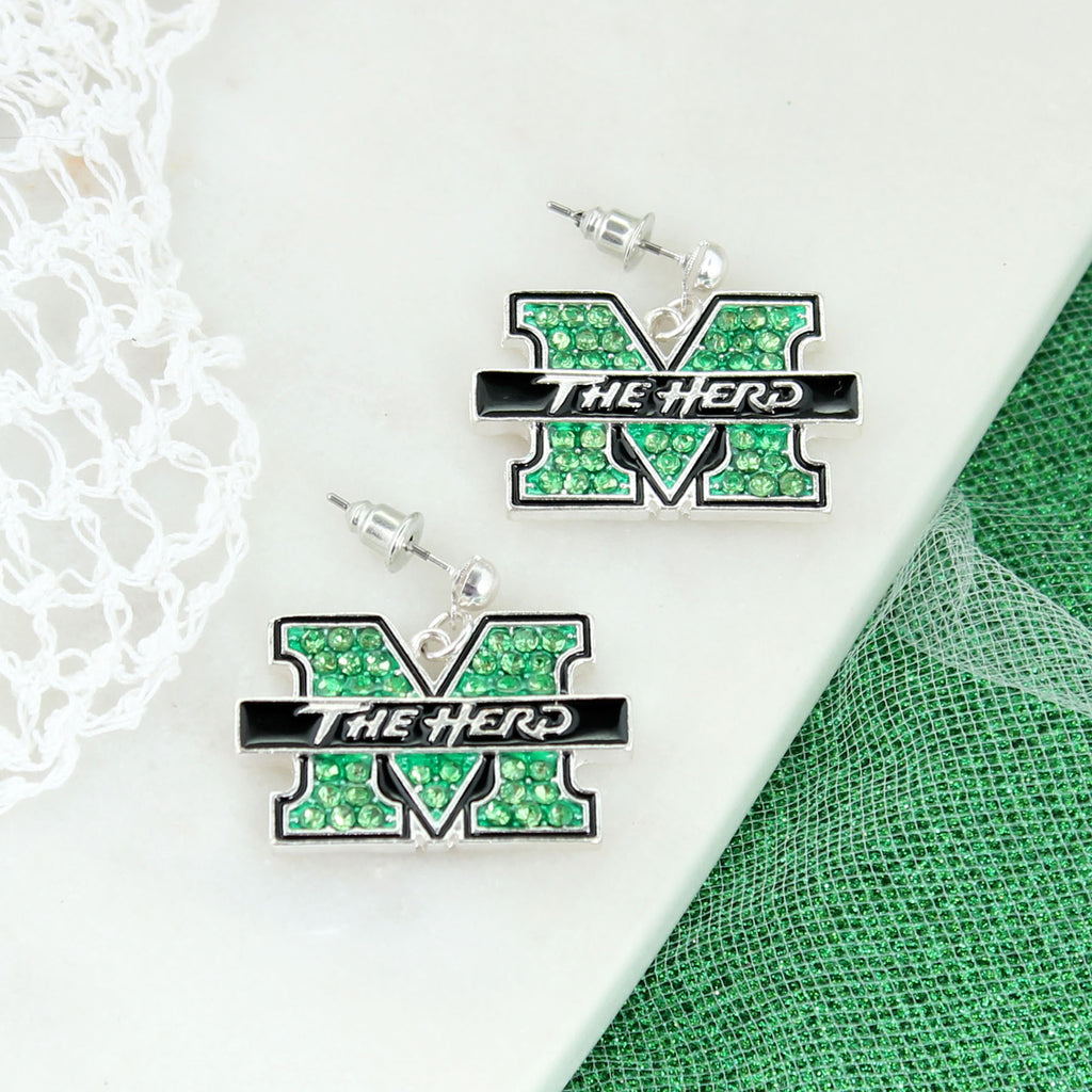 Marshall Crystal Logo Earrings