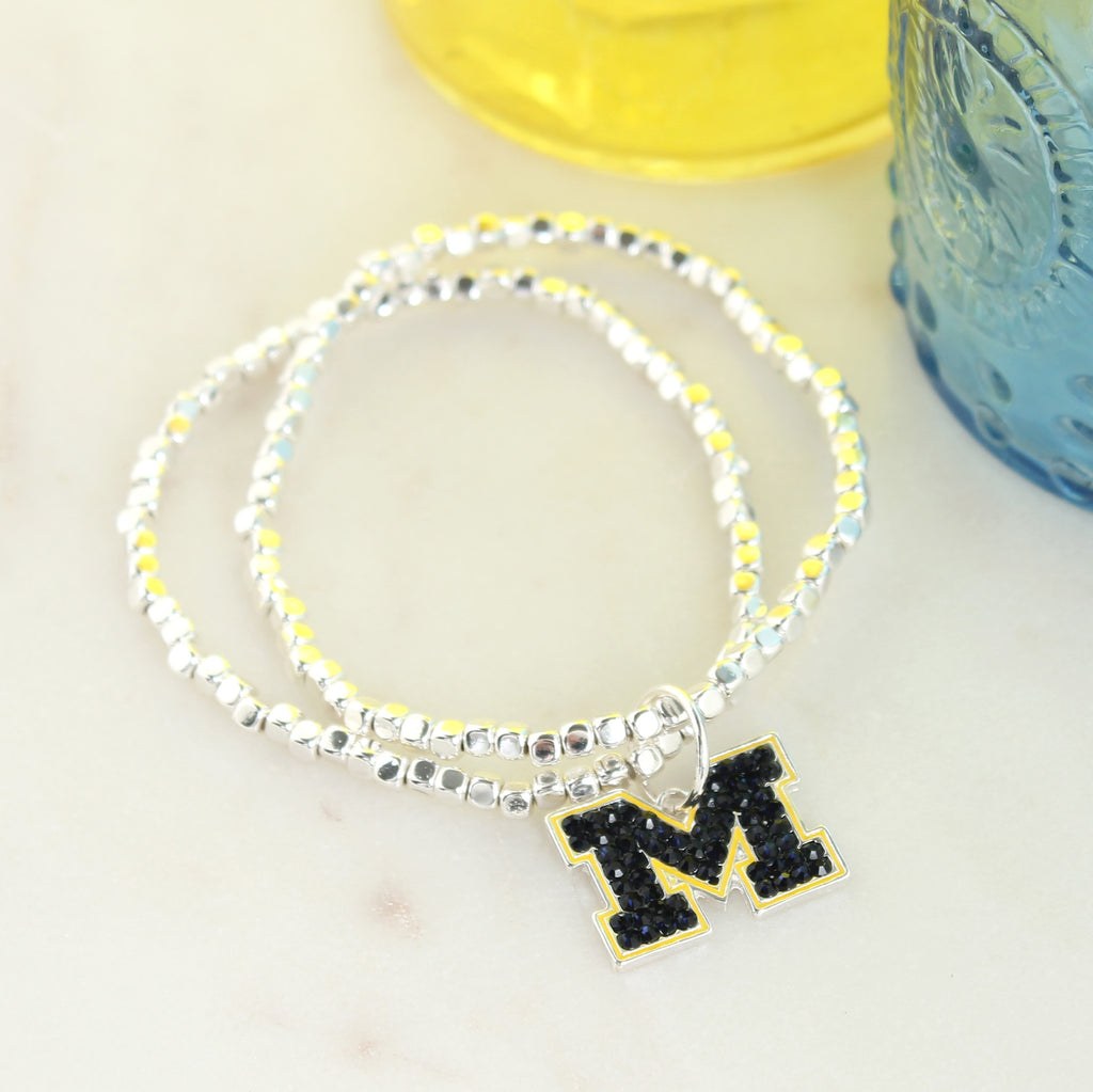 Michigan Crystal Logo Stretch Bracelet