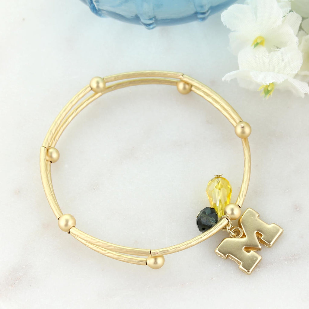Michigan Matte Gold Logo Bracelet