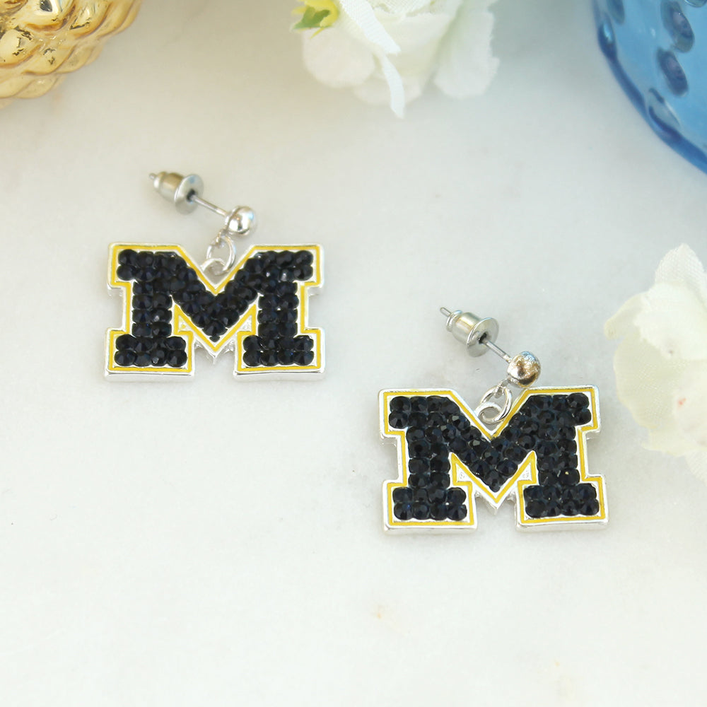 Michigan Crystal Logo Earrings