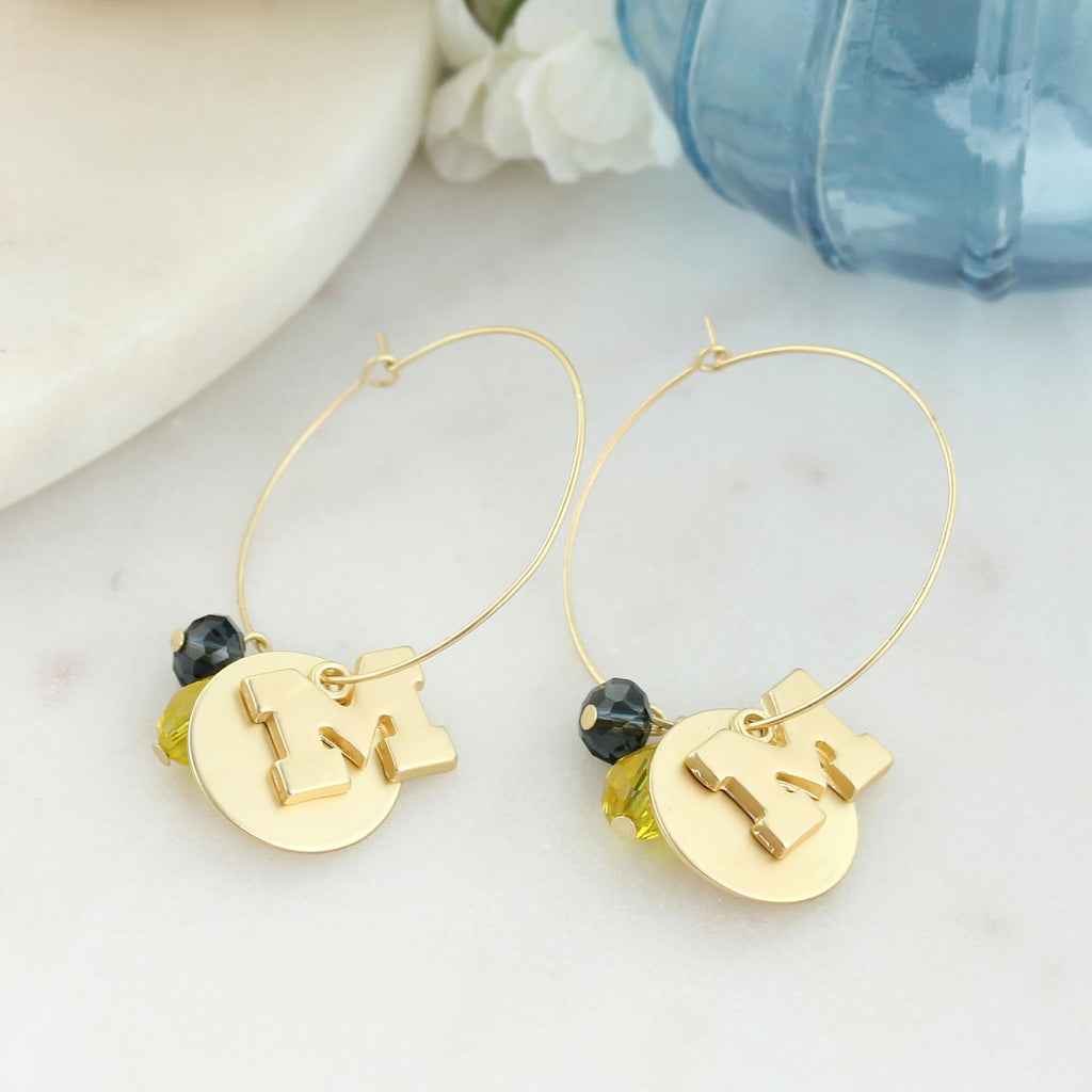 Michigan Matte Gold Logo Hoop Earrings