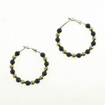Michigan Beaded Hoop Earrings