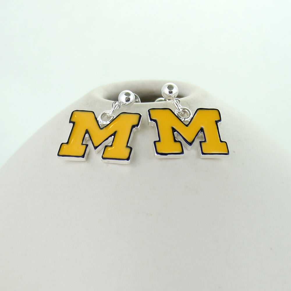 Michigan Enamel Logo Earrings