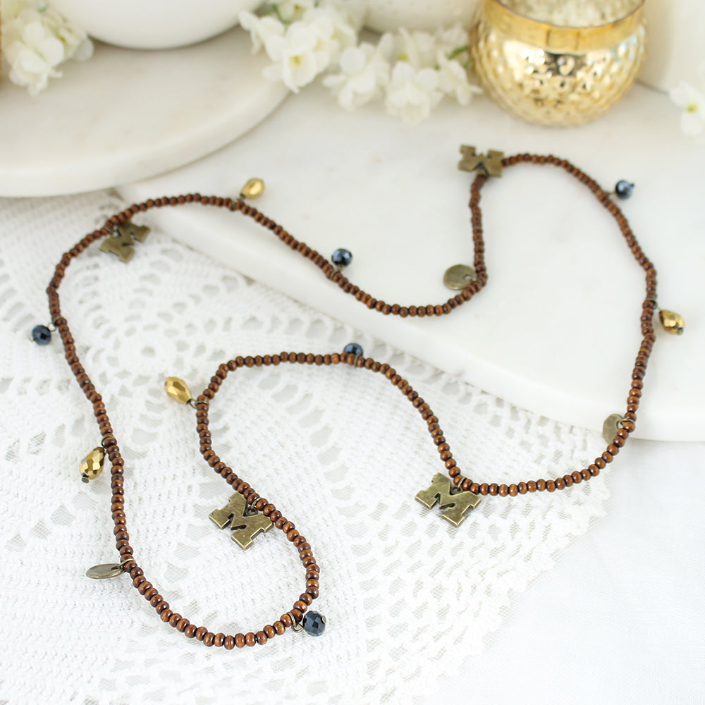 Michigan Wood Bead Stretch Necklace/Bracelet
