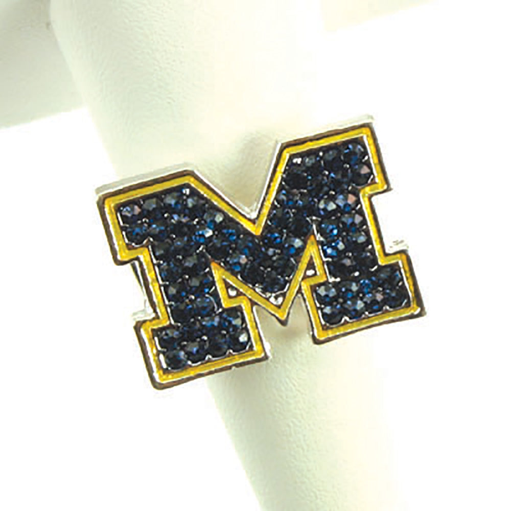 Michigan Crystal Logo Stretch Ring