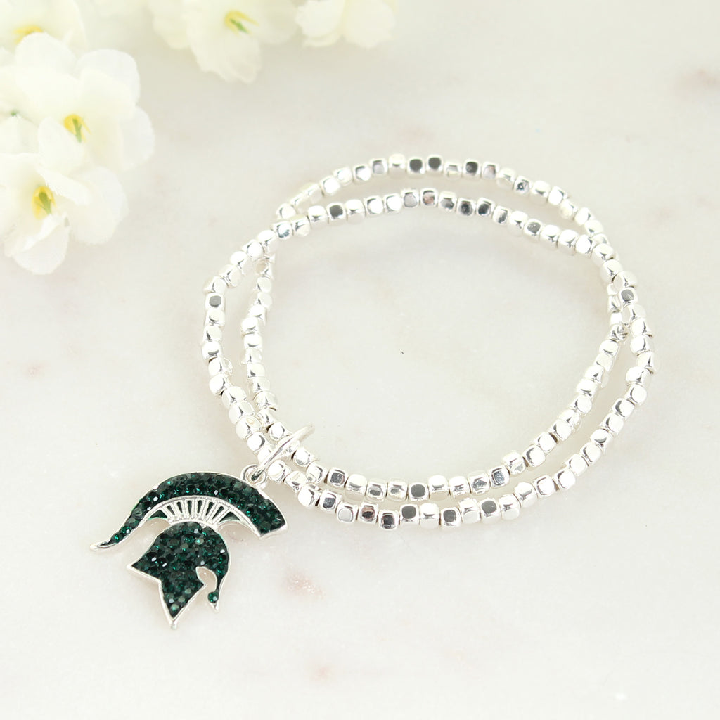 Michigan State Crystal Logo Stretch Bracelet