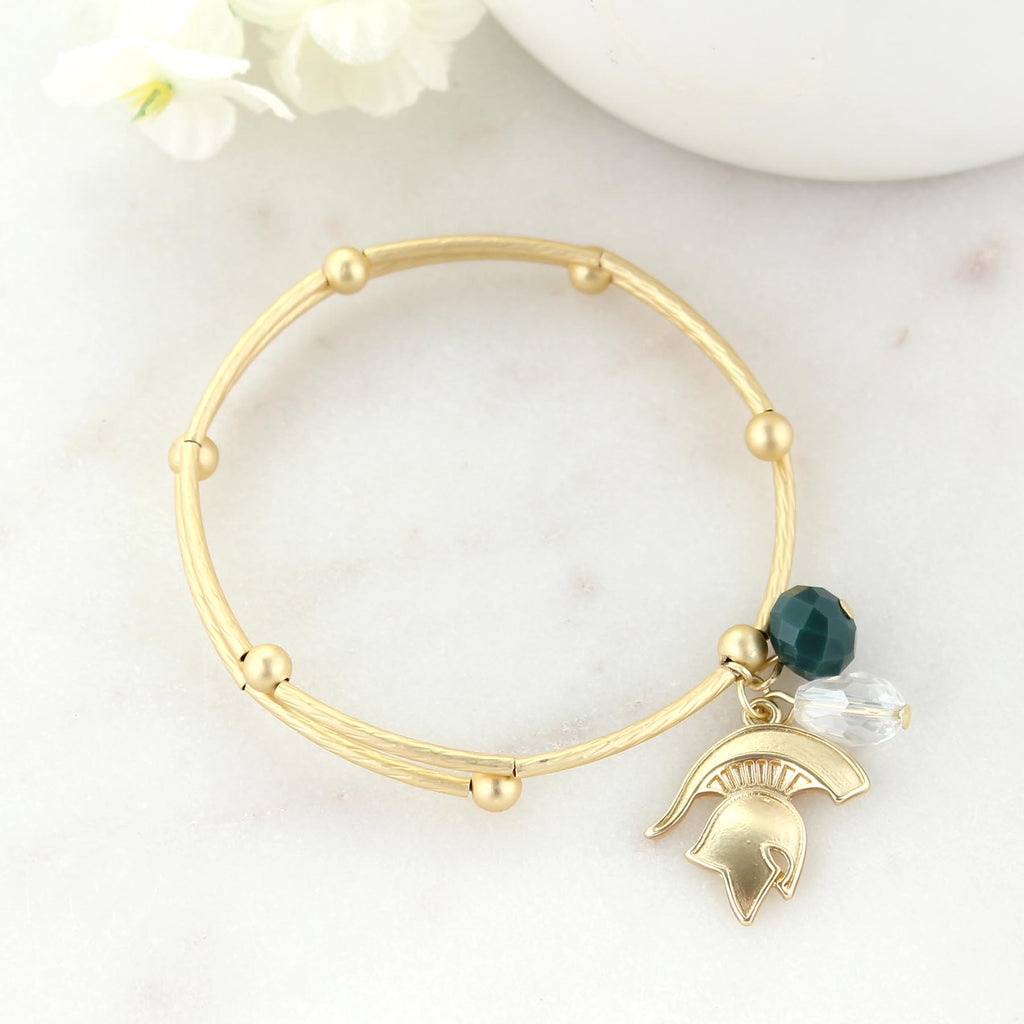Michigan State Matte Gold Logo Bracelet