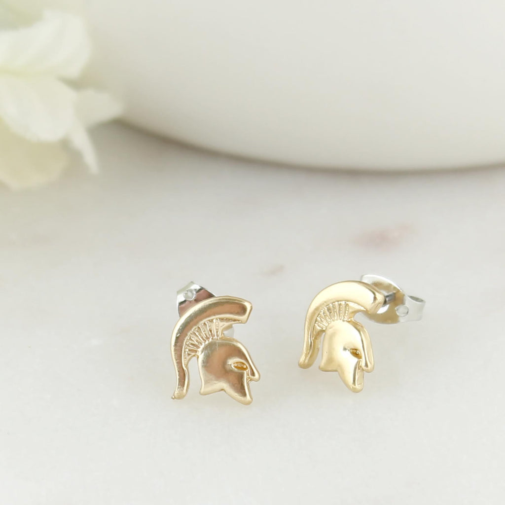 Michigan State Matte Gold Logo Stud Earrings