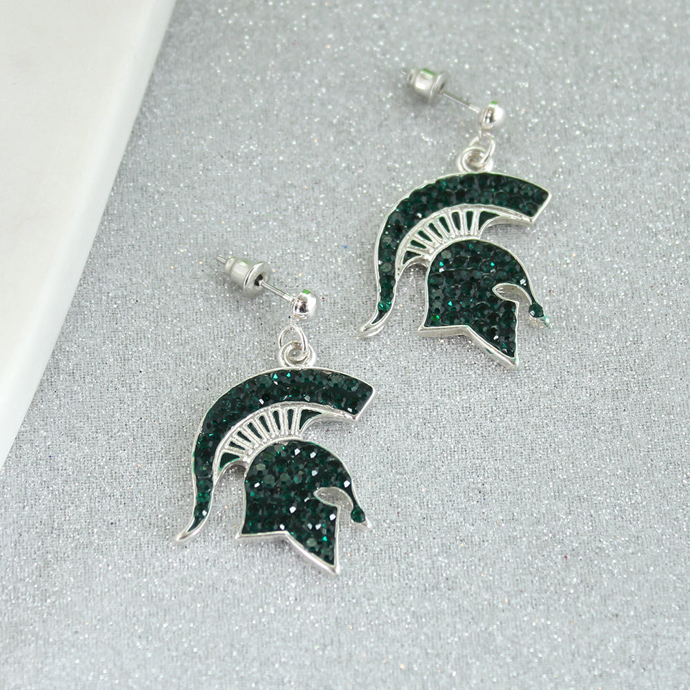 Michigan State Crystal Logo Earrings