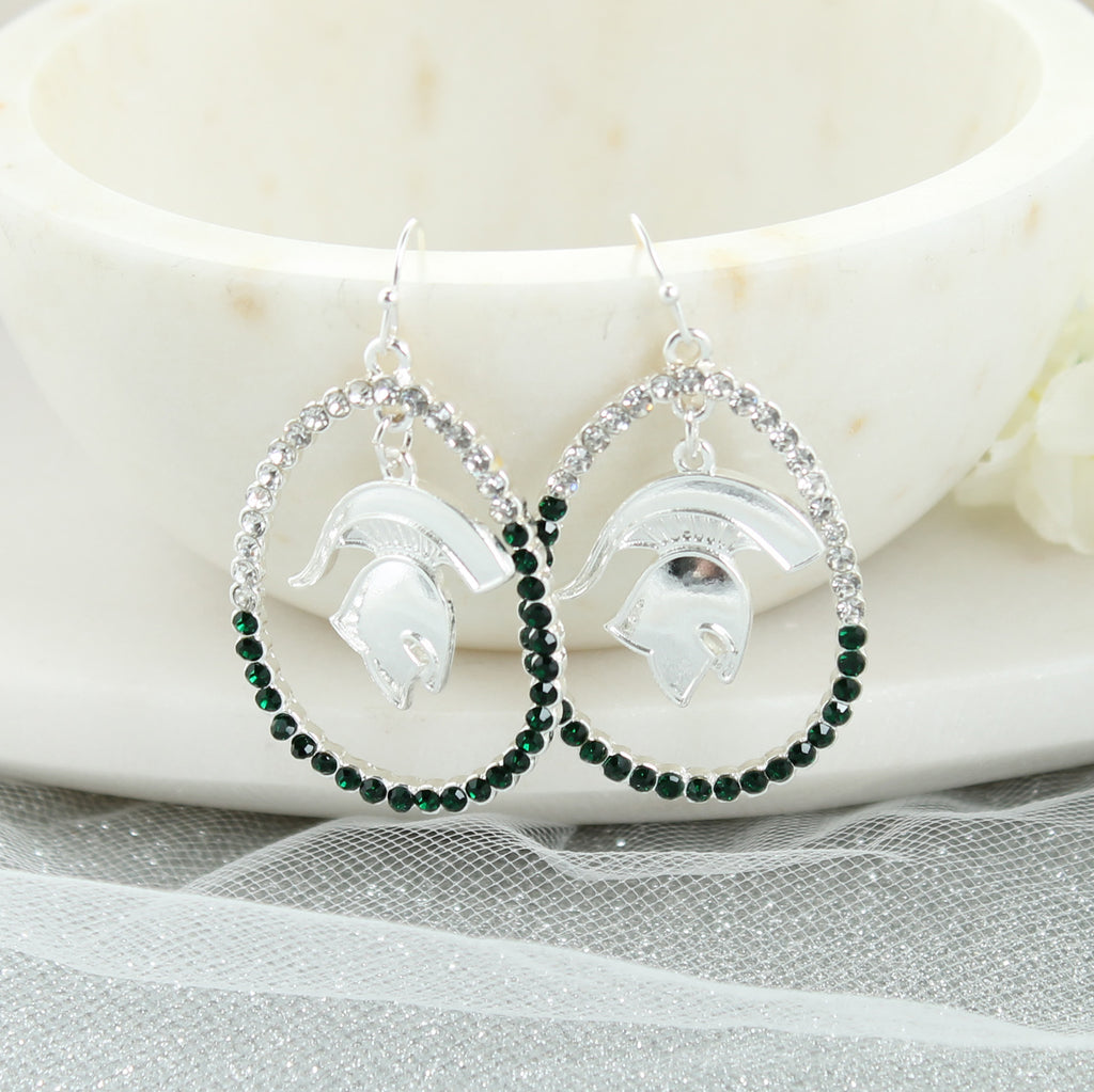 Michigan State Crystal Loop Earrings