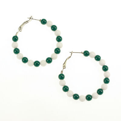 Michigan State Beaded Hoop Earrings