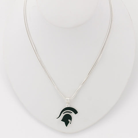 Michigan State Enamal Logo Necklace