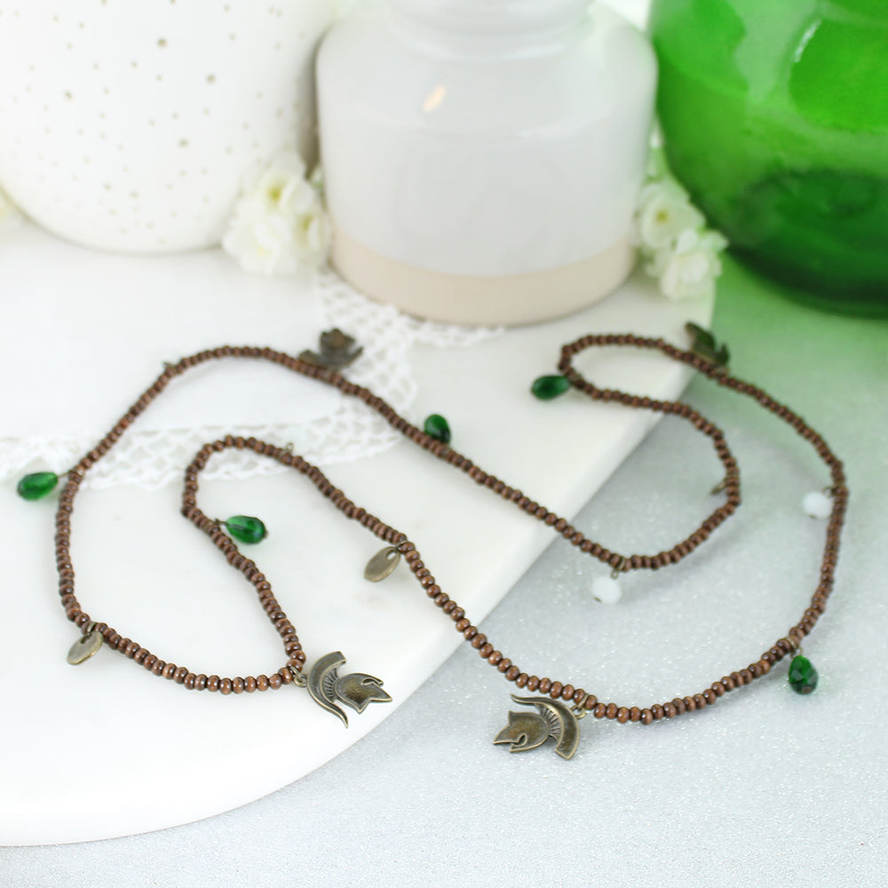 Michigan State Wood Bead Stretch Necklace/Bracelet