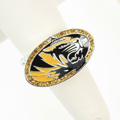 Seasons Jewelry Collegiate Missouri Crystal Stretch Ring